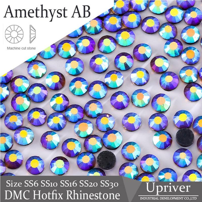 Upriver DMC Hotfix Rhinestones Amethyst AB SS6-SS30 Flatback Round Stones