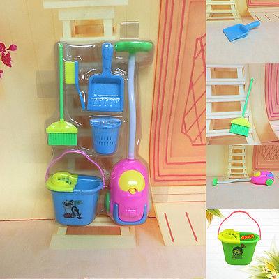 Kit de limpeza para móveis, 6 peças, limpador de móveis, casa, boneca, conjunto de brinquedos de móveis