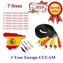 Europa HD cable de 12 meses CCCam por receptor de tv por satélite 7 Clines WIFI FULL HD DVB-S2 apoyo España cline ccam iks servidor