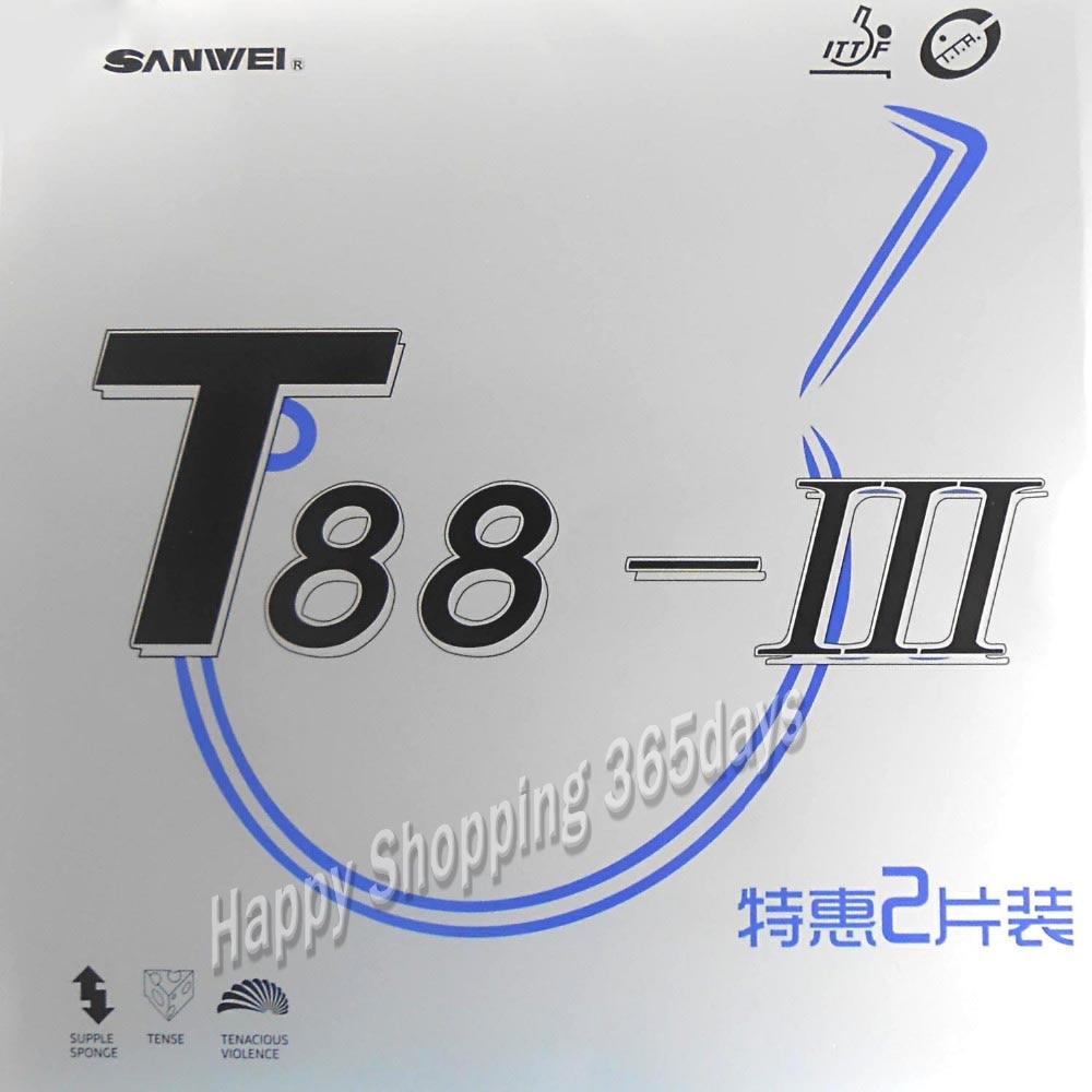 2 uds SANWEI T88 III (T88-3) Goma de tenis de mesa (medio pegajoso, bucle) con espinillas de esponja en ping pong de goma