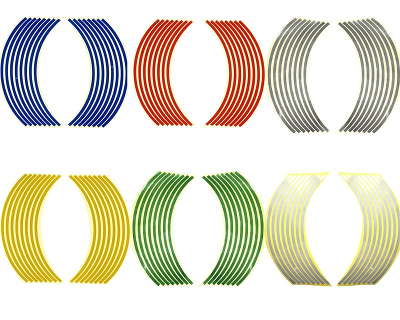 1 paquete de pegatinas universales para rueda de motocicleta, reflectante pegatina de 17/18 pulgadas para Borde de neumático de bicicleta, pegatinas reflectoras para rueda