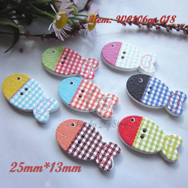 Boutons de dessin animé scrapbooking   100 pièces, boutons en bois en forme de poisson mixte aléatoire, accessoires artisanaux décoratifs pour enfants, vente en gros