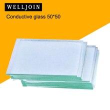 50x50x1,1mm <10 ohm/sq 10 Uds vidrio conductivo transparente de laboratorio óxido de estaño ITO vidrio recubierto