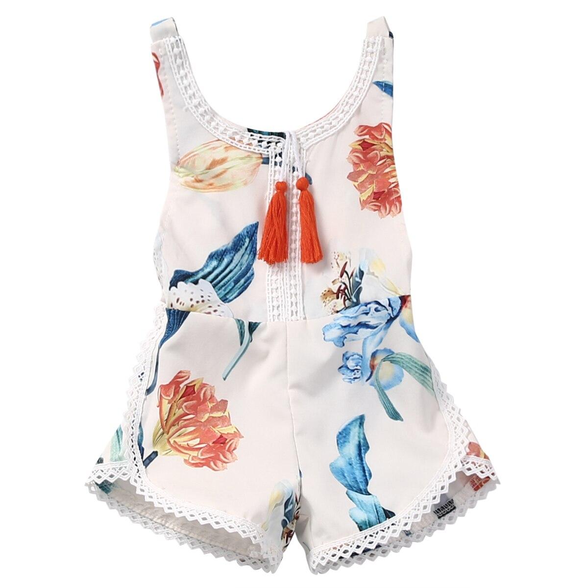 Us stock bebê meninas conjuntos de roupas de uma peça pendurado borlas knicker floral camisa branca roupa playsuit roupas infantis 0-4 t