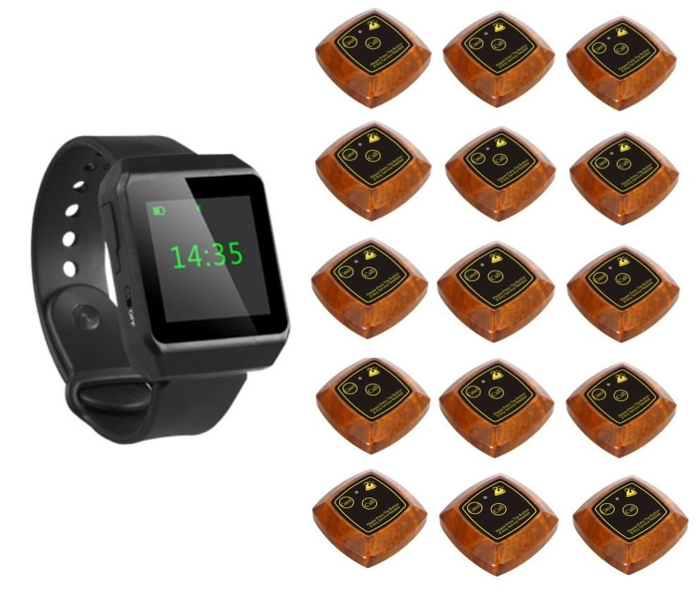 Sistema de localización de camareros, busca reloj, campana de llamada de mesa, transmisor de madera de dos botones 15 pc, servicio al cliente de restaurante singcall
