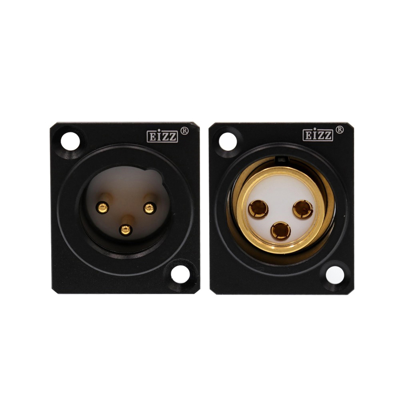 1 enchufe XLR EIZZ de gama alta chapado en oro cobre Teflon XLR Jack conector de clavija para micrófono auricular amplificador HiFi Audio DIY