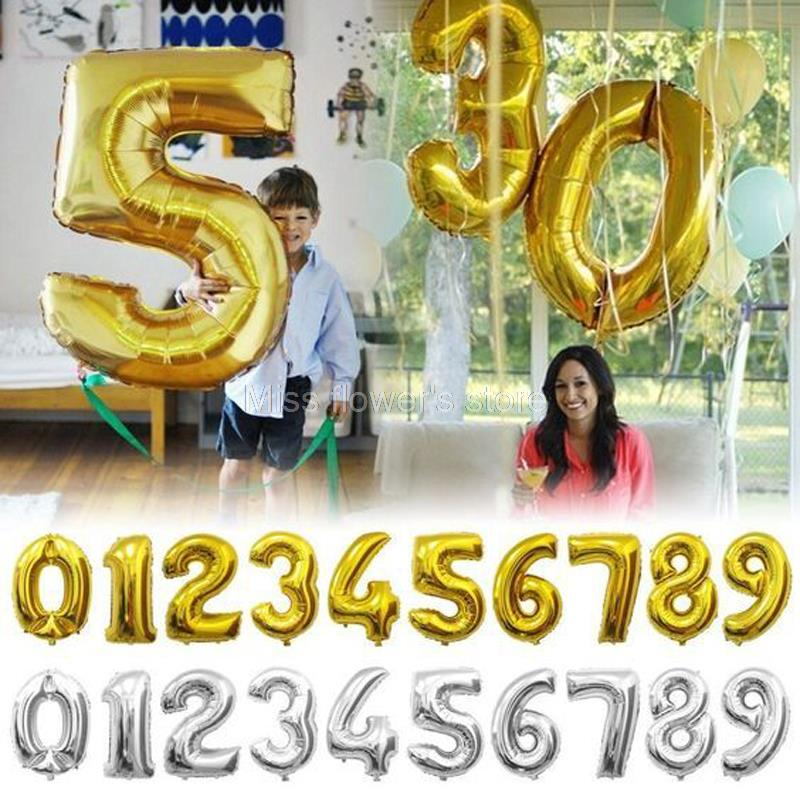 Огромный 40 дюймовый Золотой/Серебряный арабский номер 0-9 фольгированные воздушные шары украшения для свадьбы, дня рождения