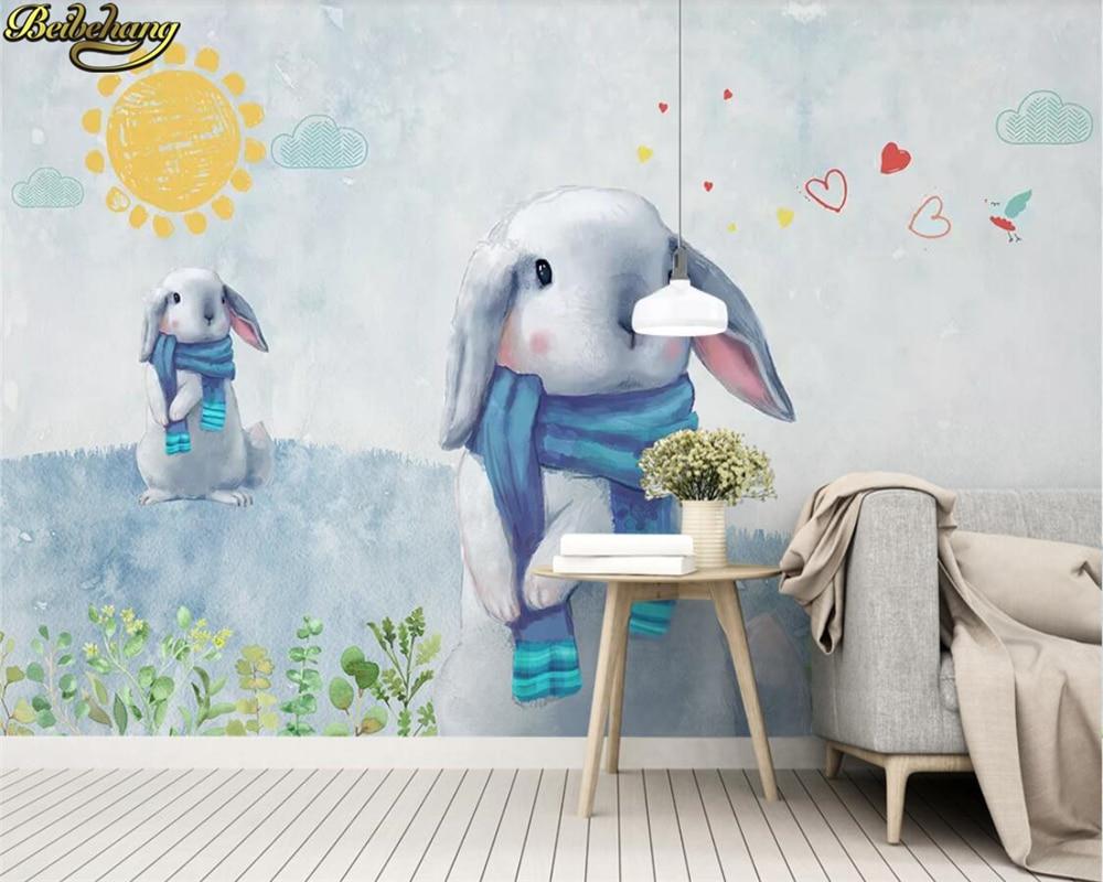 beibehang Custom photo wallpaper mural Nordic modern minimalist hand-painted cute rabbit childrens room backdrop papel de pared