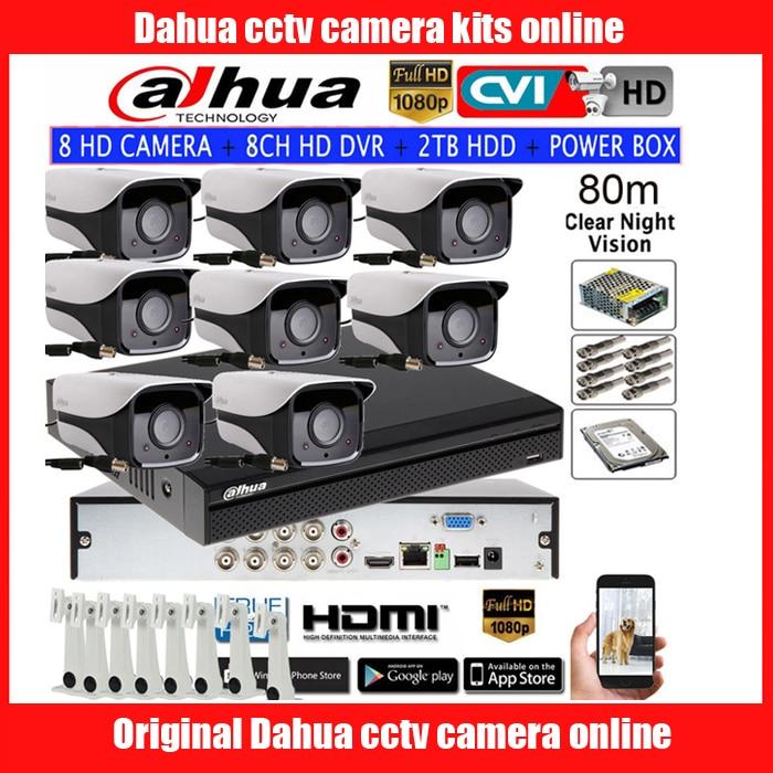 DAHUA 1080P IR80M CVI cámara de seguridad CCTV HAC-HFW2208M-I2 bullet HDCVI Cámara 8CH HCVR5108HS-S3 kit de cámara HDD con caja de alimentación