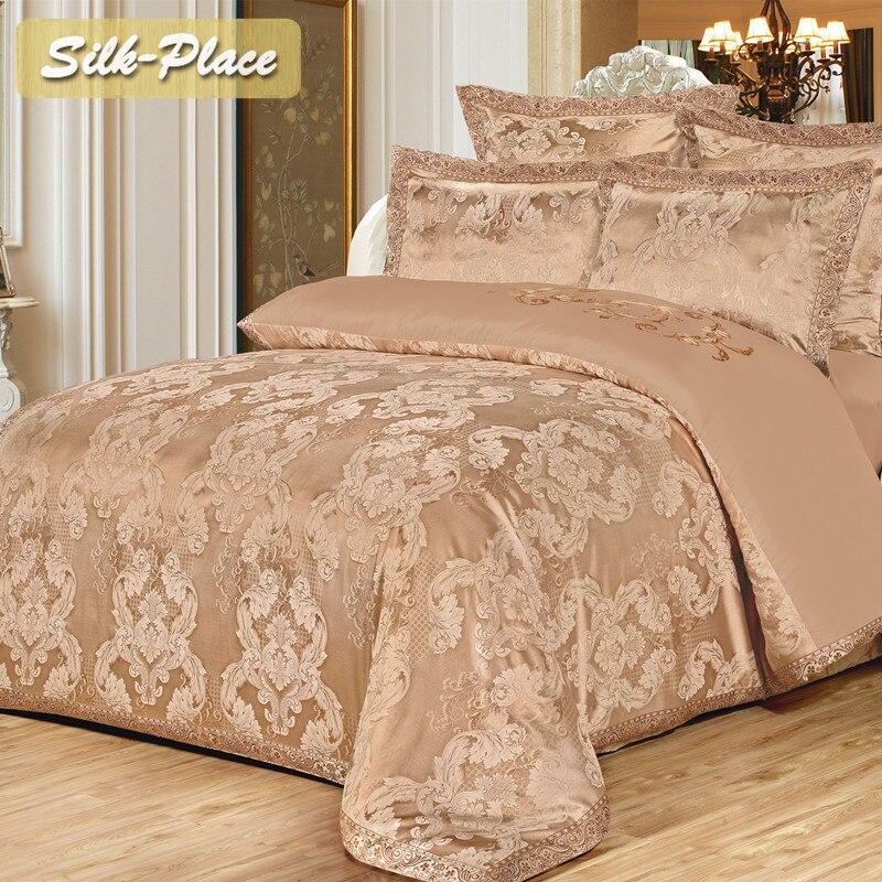 Jogo De cama de Seda de luxo Bordado roupa de Cama de Cetim capa de edredão set roupas de Cama Jacquard sp 080 (venda)