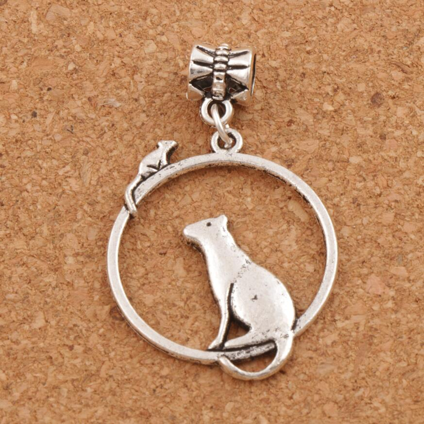Mouse Cat On One Ring Charm Beads 80pcs zinc alloy Dangle 26x42 mm Fit European Bracelets B032