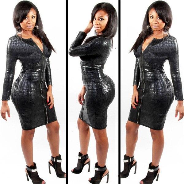 Negro Serpentine de cuero de imitación de Otoño de manga larga hasta la rodilla vestido de mujer, ropa de discoteca de moda Sexy de talla grande vestidos XXXL