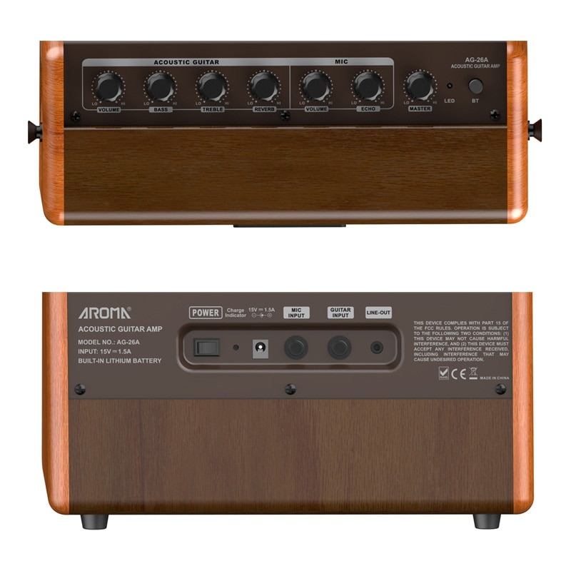 AROMA AG-26A Acoustic Guitar Amplifier 26W Portable Amp with Microphone Interface Built-in Rechargeable Battery and Bluetooth enlarge