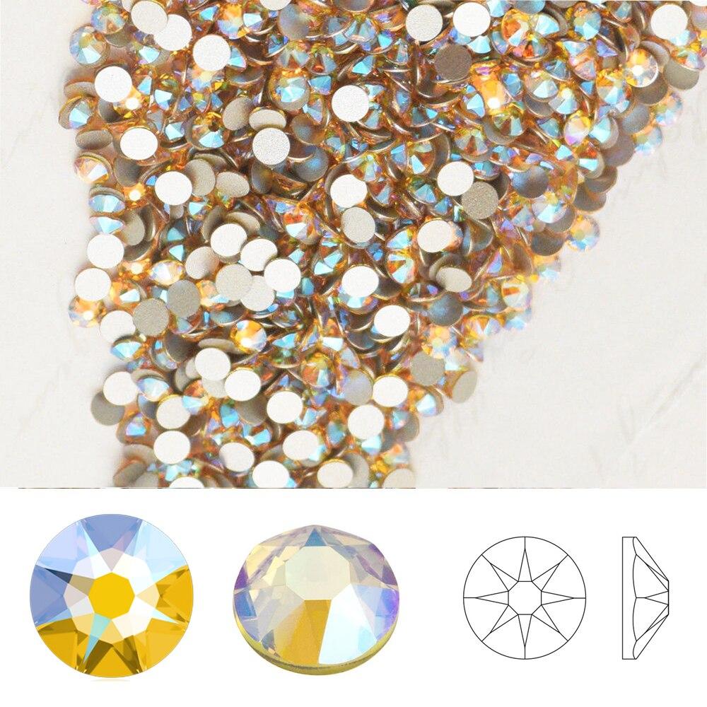 Swarovski elementos luz topázio shimmer (226 calço) (ss5-ss20) novo efeito shimmer (sem hotfix) strass de cristal de volta plana