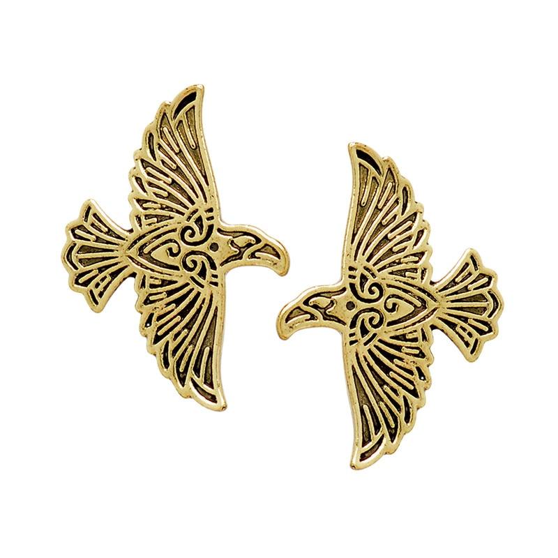 Viking Flying Raven Pin 1-2 шт., винтажная бронзовая шпилька с пряжкой, куртка для рубашки булавка, знак для мужчин, украшения в подарок