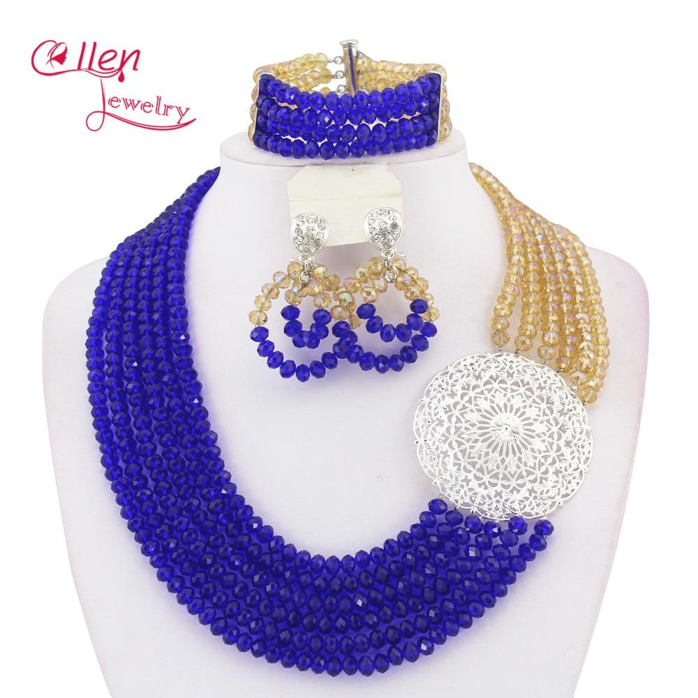 Nigerian Wedding bridal Jewelry Set African Crystal Beads jewelry Set dubai women necklace Set WS5585