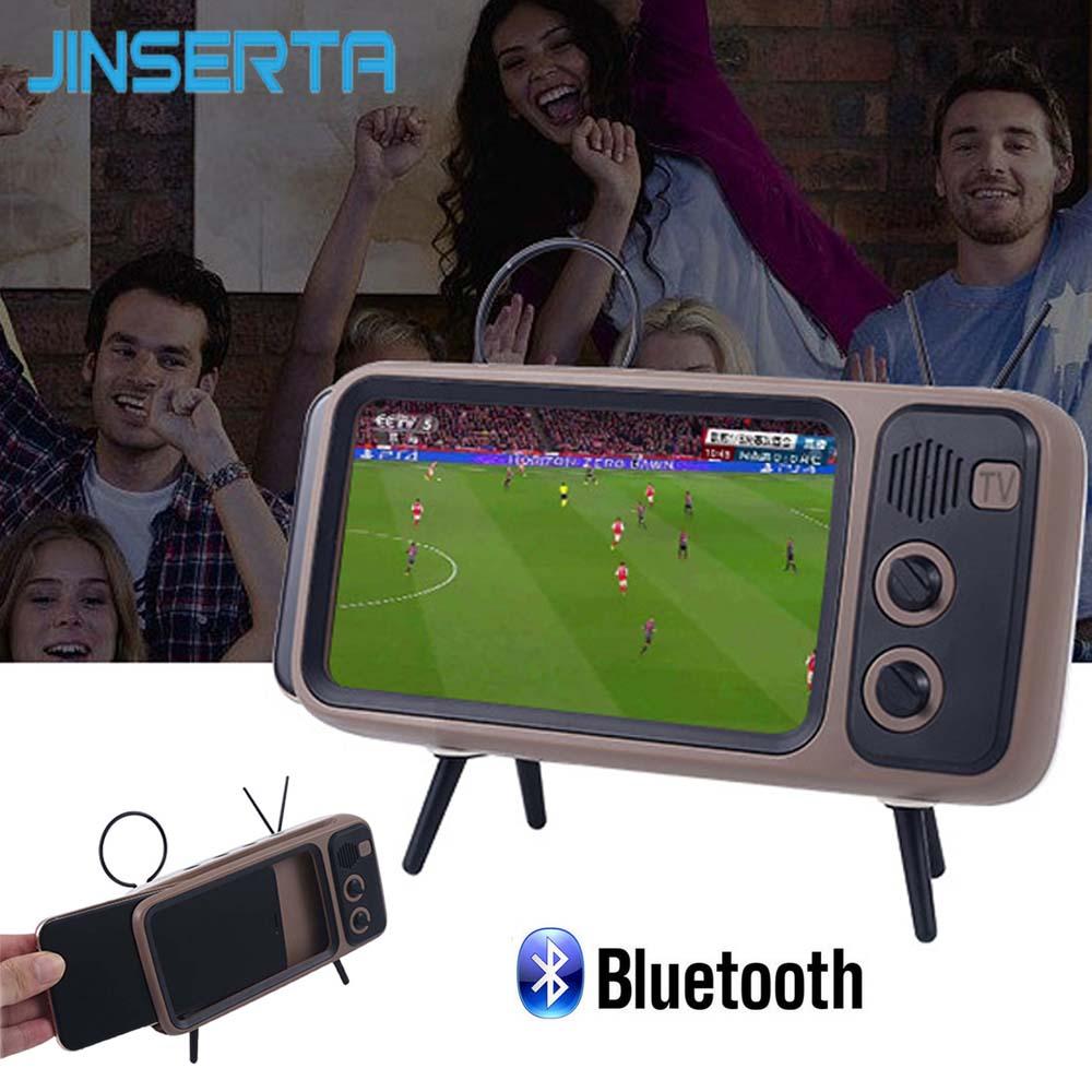 JINSERTA Altavoz Bluetooth inalámbrico con soporte para teléfono móvil, TV, Altavoz inalámbrico portátil, teléfono inteligente, manos libres