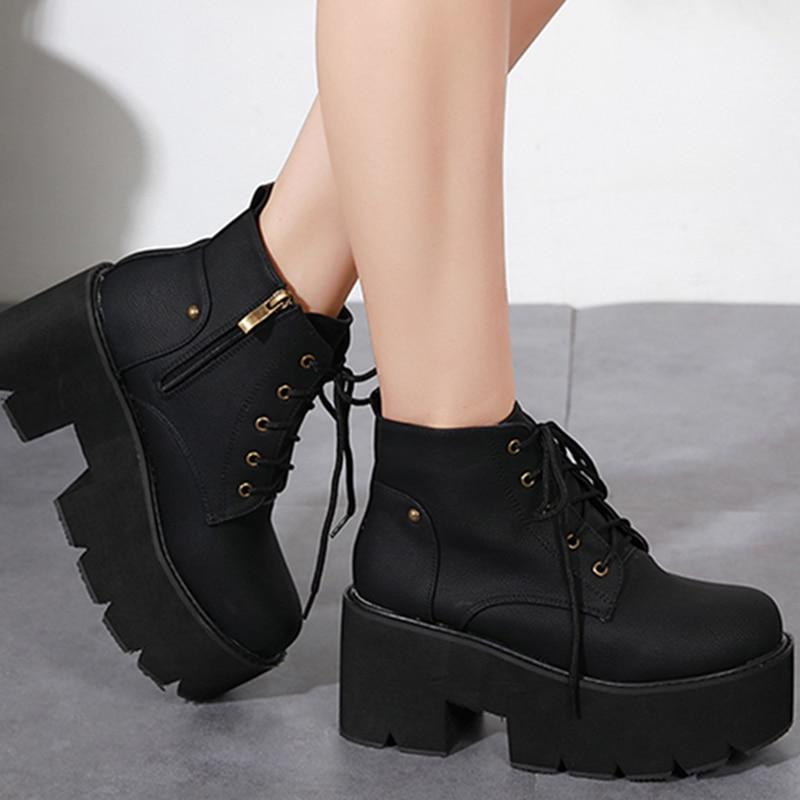¡Novedad de 2019! Botas de tacón grueso con cordones a la moda de Rimocy, botines de Mujer de plataforma con cremallera y punta redonda, zapatos antideslizantes estables para Mujer