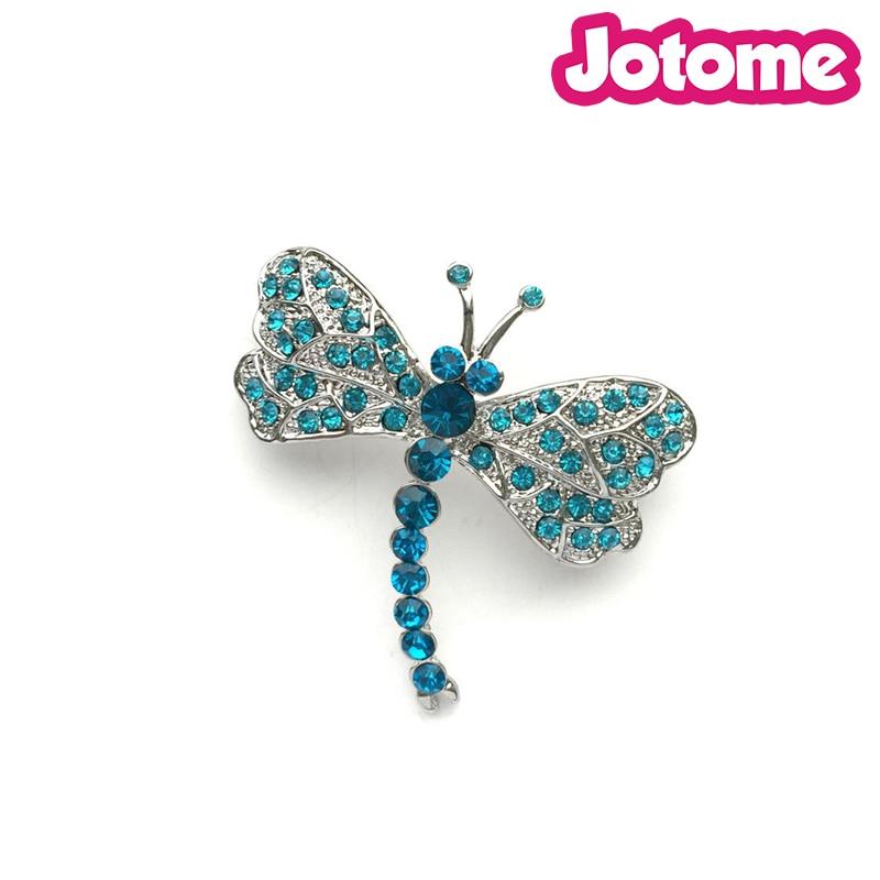 Aqua Blue libélula de cristal plata Animal Broche de insectos accesorios de boda broche de novia ramo de pelo peine DIY Crafts