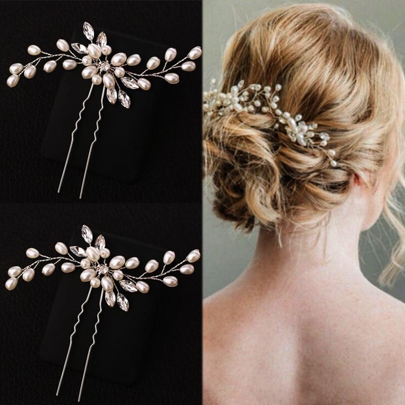 ¡Producto en oferta! 1 pieza de horquillas de cristal plateadas elegantes hechas a mano con perlas, Dama de Honor de boda de flores para novia, velo de novia, herramienta de modelado