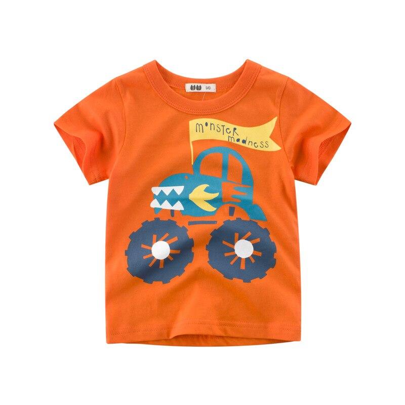 Impressão laranja caminhão de algodão meninos t-shirt de fábrica barato por atacado de alta qualidade