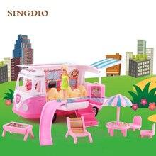 Fun pique-nique petits jouets bébé pour enfants filles barbie ensemble bus siku jouer jouets voiture avec des vêtements cheveux sac à main cadeau pour 6 ans