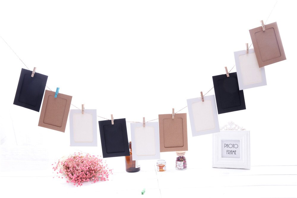 Wall Deco DIY Creative Mini Paper Photo Frame  Mini Colored Clothespins  Twine cadre photo K10