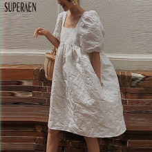 SuperAen robe à manches bouffantes femmes été nouveau 2019 coton mode dames robe col carré décontracté femmes vêtements