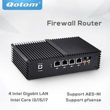 Pfsense Qotom Mini Pc 4 Gigabit Micro pc Core i3 i5 i7 Mini PC Fanless Mini Pc Del Computer AES-NI pfsense Firewall router thin Client