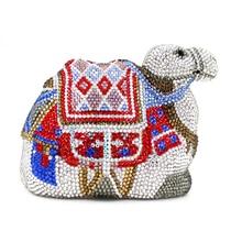 Luxe coloré plein diamants Camel forme embrayage femmes sac de soirée 100% à la main en cristal dames fête Banquet chaîne sacs à main
