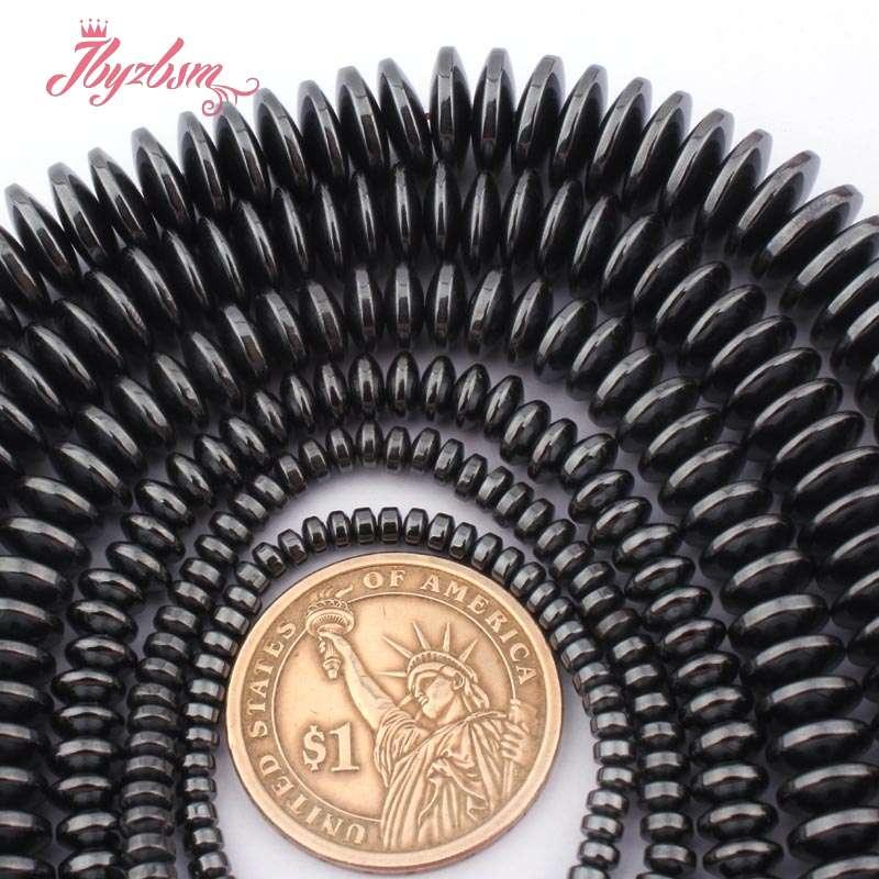 "2x3,3x8,3x12mm Black Rondelle Sliced Hematite Natural Stone Beads For Women XMAS Necklace Bracelet Pandant Jewelry Making 15"""