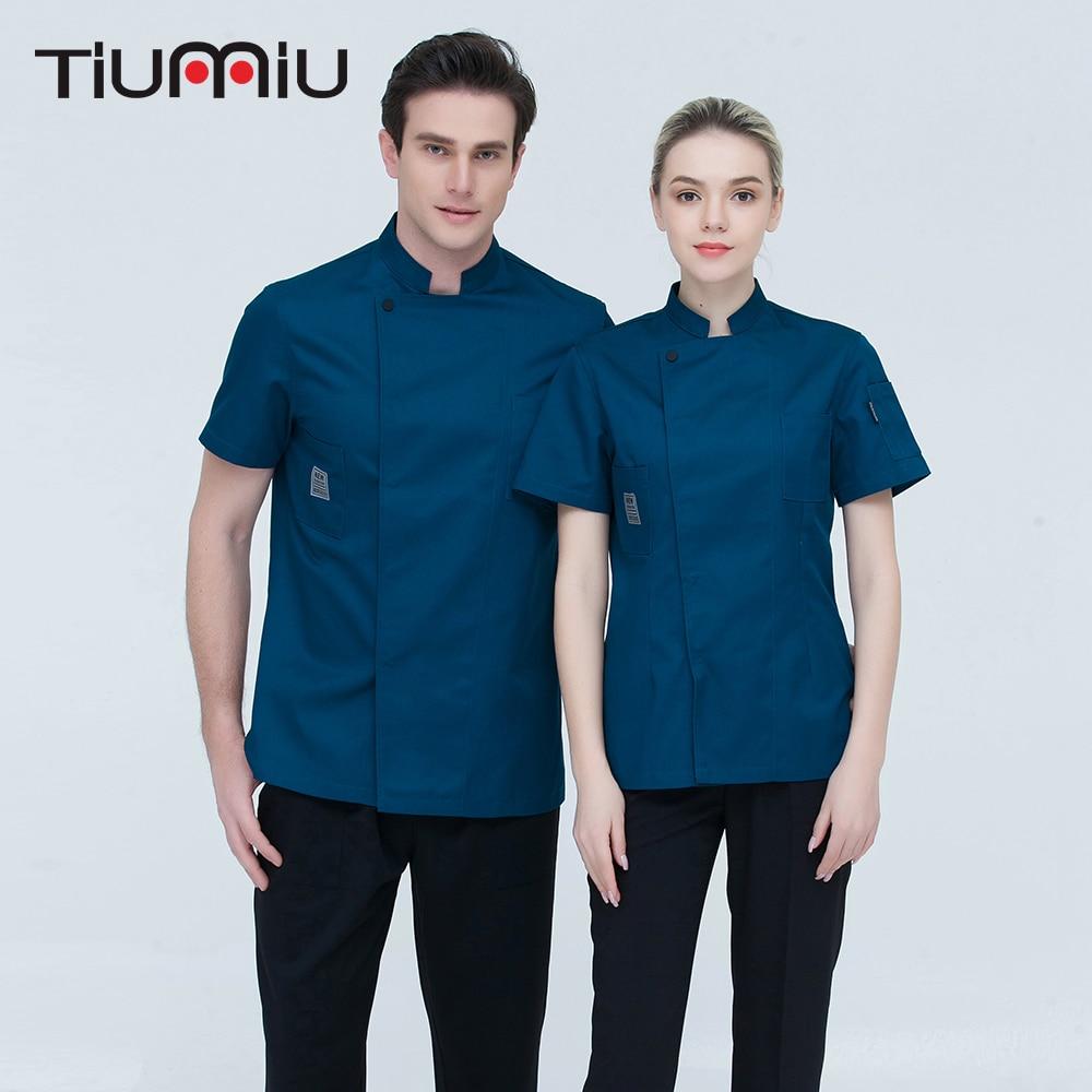 Drop Ship Short-sleeve Chef Uniforms Restaurant Hotel Chef Jacket Kitchen Cook Shirt Unisex Kitchen Work Clothes Waiter Overalls