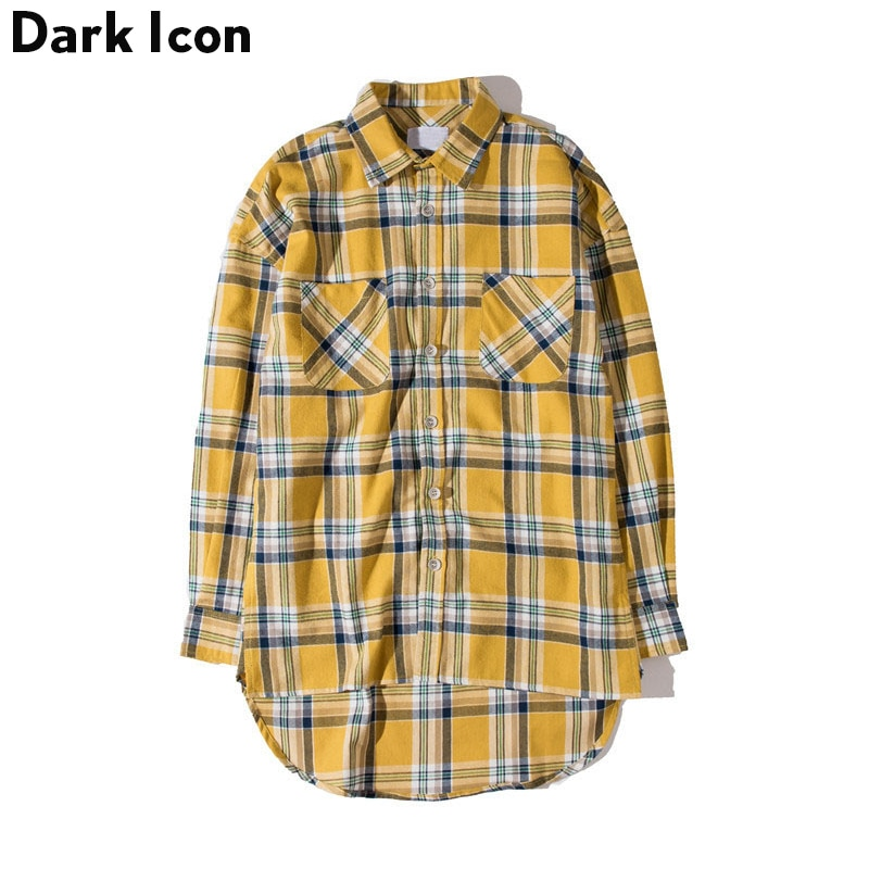 DARK ICON-قميص رجالي منقوش من الفانيلا ، هيب هوب ، ملابس الشارع ، مقاس كبير ، حاشية منحنية ، قميص هيبستر بأكمام طويلة ، 2 أصفر ، 2019
