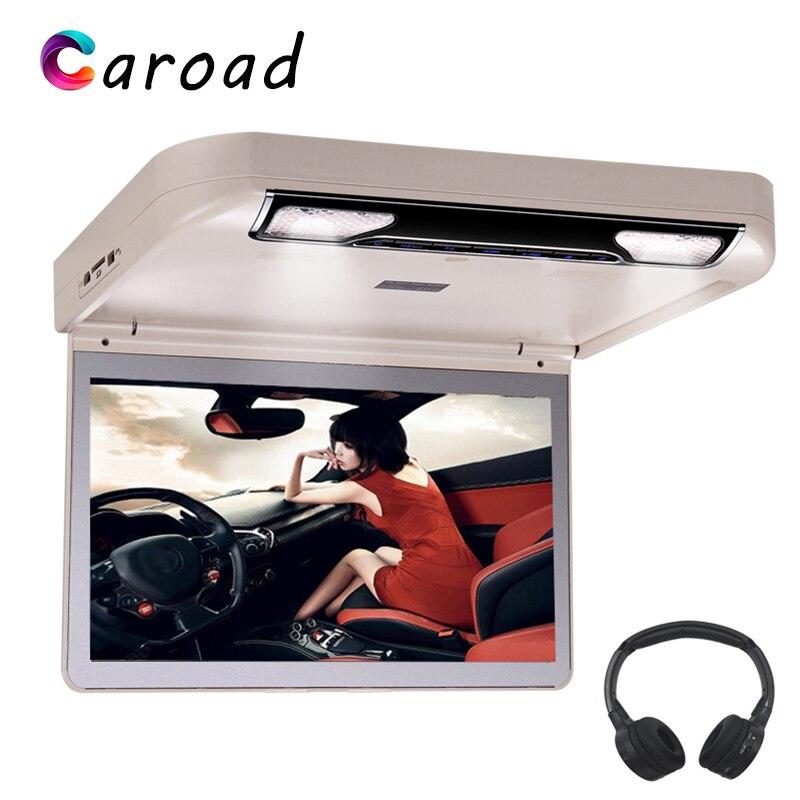 Reproductor de DVD para coche HD 1080P 13,3 pulgadas pantalla Digital abatible hacia abajo Monitor de montaje en techo con USB SD HDMI MP5 IR/FM Transmisor coche pantalla
