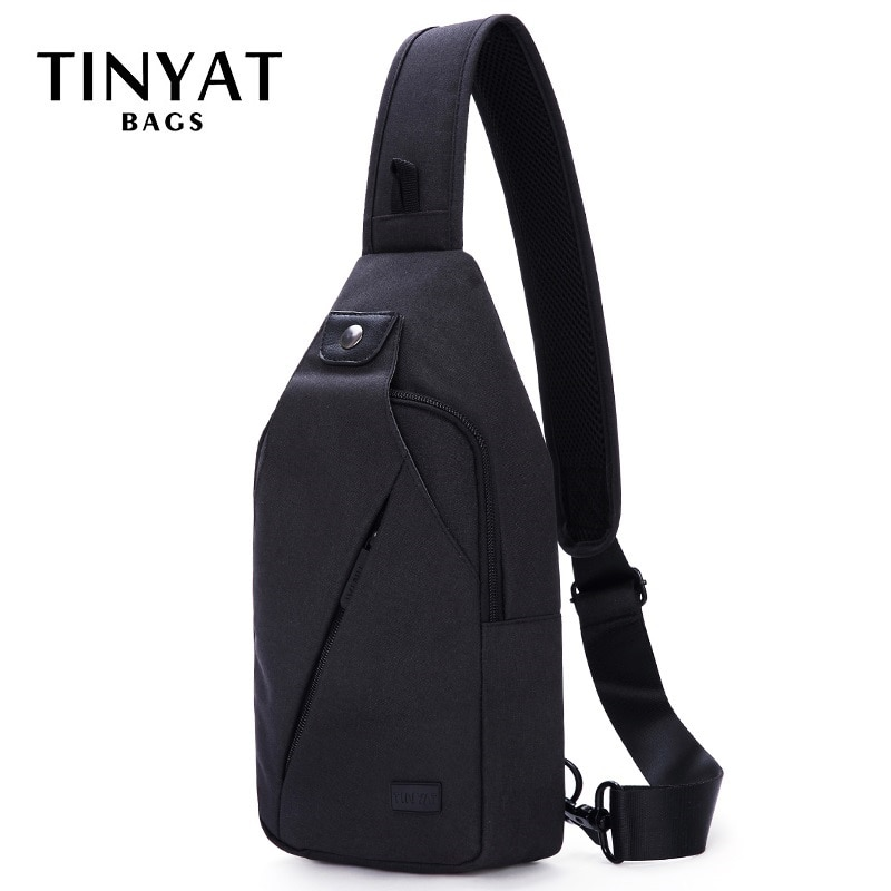 Tinyat sling saco para 7.9 almofada preto casual funcional saco de peito pacote duplo fone de ouvido jack masculino ombro sacos do mensageiro saco pacote