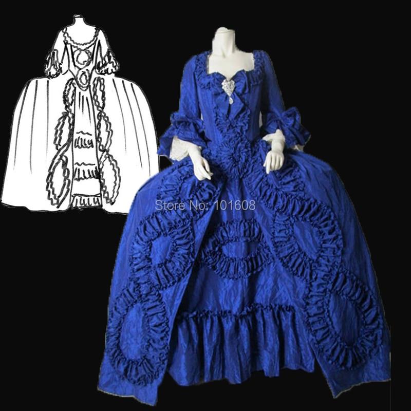 Personalizado! Retro azul real Duquesa Reina del sur de la guerra Civil 18th Marie vestido de Antonieta victoriano Colonial vestidos HL-319