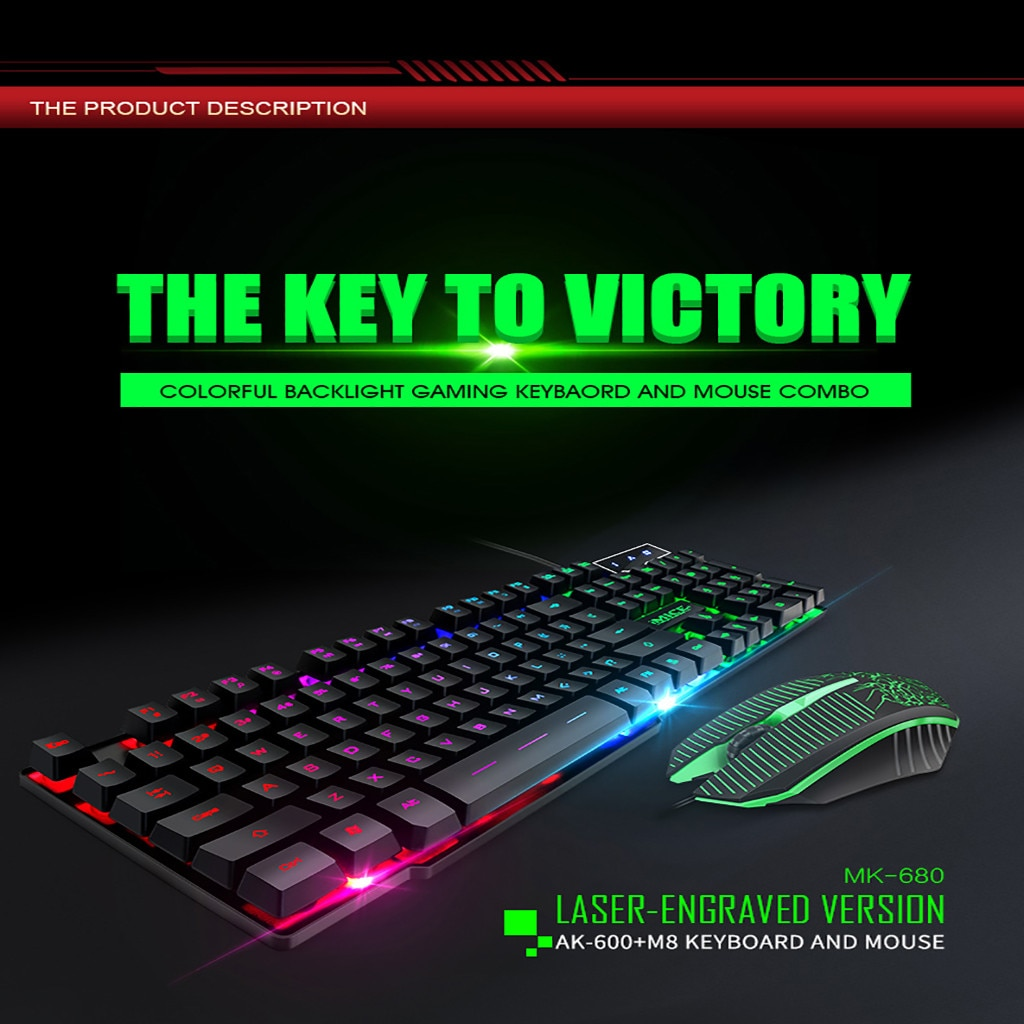 Teclado 2019 IMICE MK-680 ordenador portátil flotante Teclado retroiluminado ratón y teclado portátil/PC características LOL