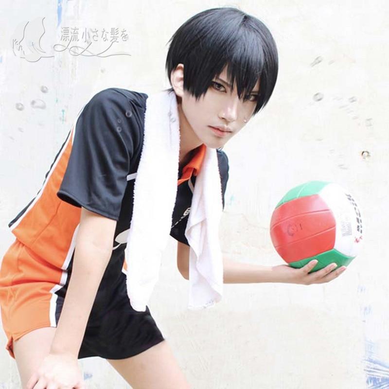 Anime Haikyu!! Volleyball Kageyama Tobio Cosplay Wig Short Black Heat Resistant Synthetic Hair Wig + Wig Cap