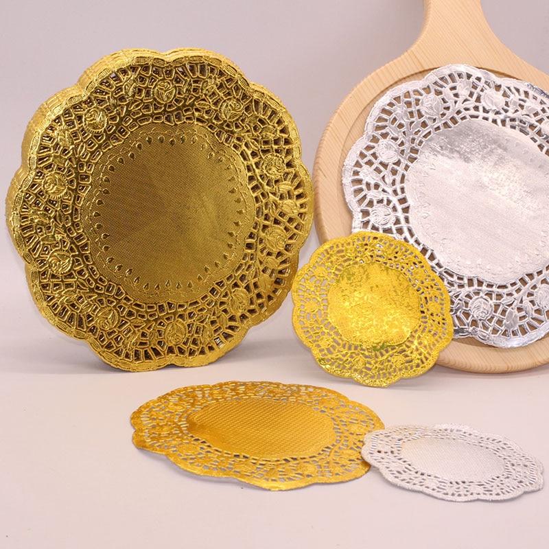 100 unids/lote 4,5/5,5/6,5/7,5/8,5/12 pulgadas oro blondas de papel plateado manteles individuales posavasos accesorios de mesa tapete pad papel posavasos