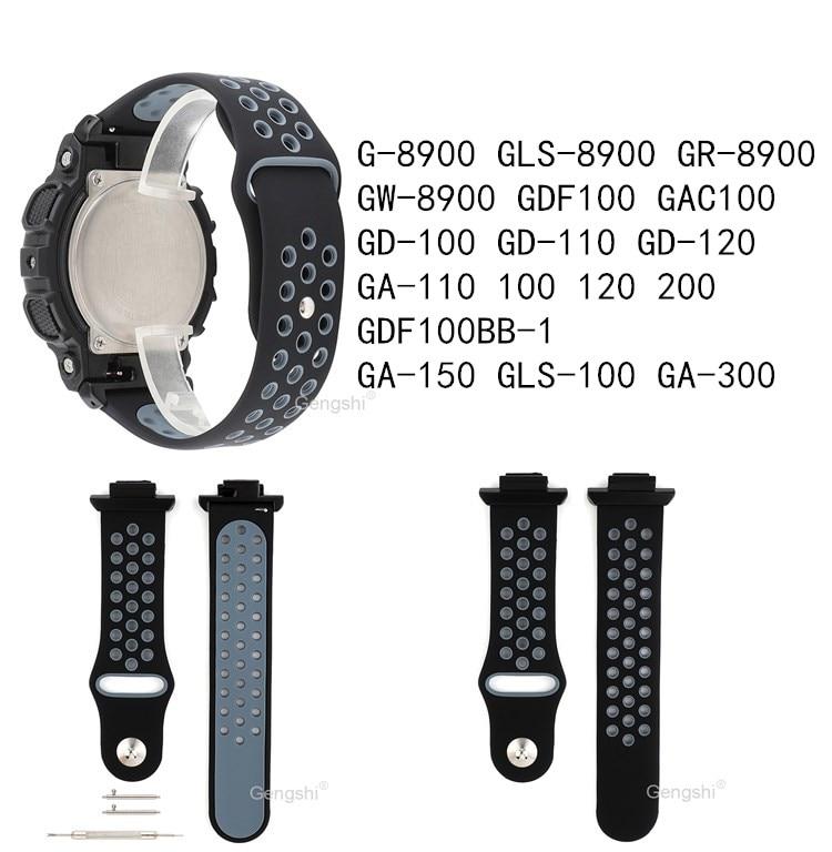 16mm banda de reloj de correa de ajuste para Casio G Shock GD-100 110 120 GA-100 GA-110 110GB 120, 200, 150, 300 GA-400 GR GW-8900 GA-700 710