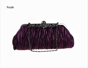 Purple Chinese Women's Satin Handbag Party Evening Bag with Shoulder Chain Purse Makeup Bag Free Shipping 7385-G