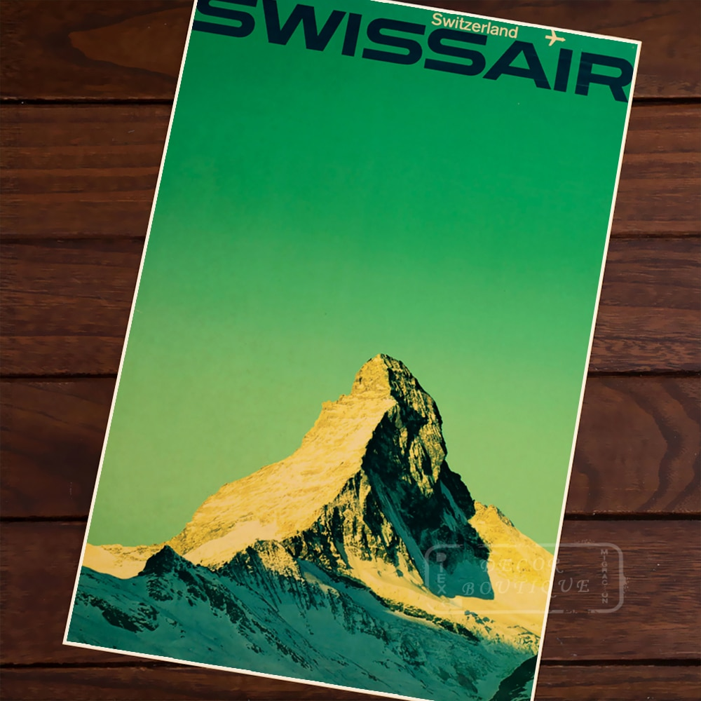 Swissair Alps clásico Vintage Retro Kraft lienzo pintura viajes pinturas póster mapas hogar carteles para Bar decoración de pared regalo