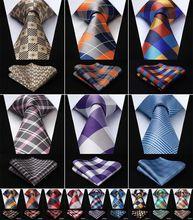 "Men Tie Necktie Pocket Square Classic Party Wedding Mens Fashion Check Plaid 3.4""Silk Woven Wedding  Handkerchief Set#RC2"