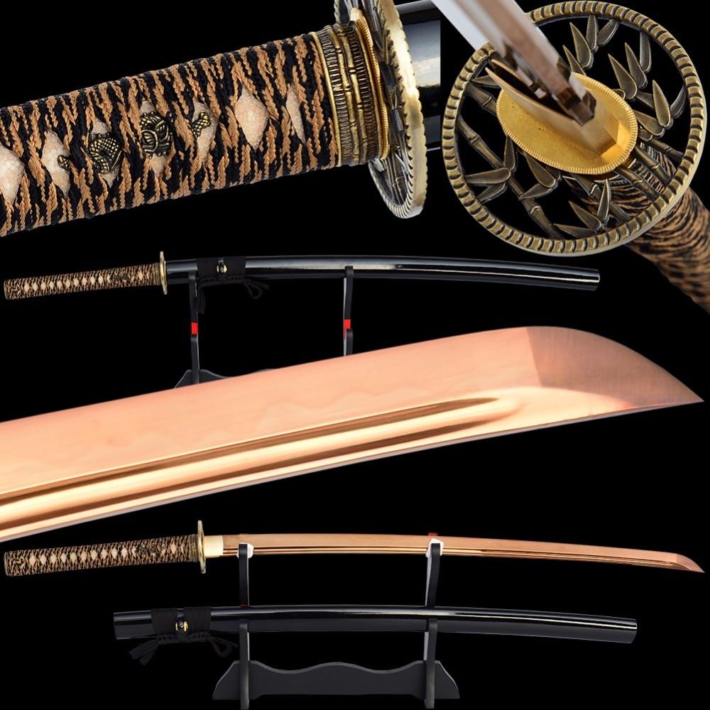 Brandon Swords Clay Tempered Katana Sharp Full Tang Golden Blade High Carbon Steel Japanese Samurai Sword Cut Cut Tree Espada