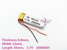 Meilleure batterie marque 3.7 V lithium polymère batterie 601235 061235 260 mAh MP3/4/5 batterie Bluetooth moniteur