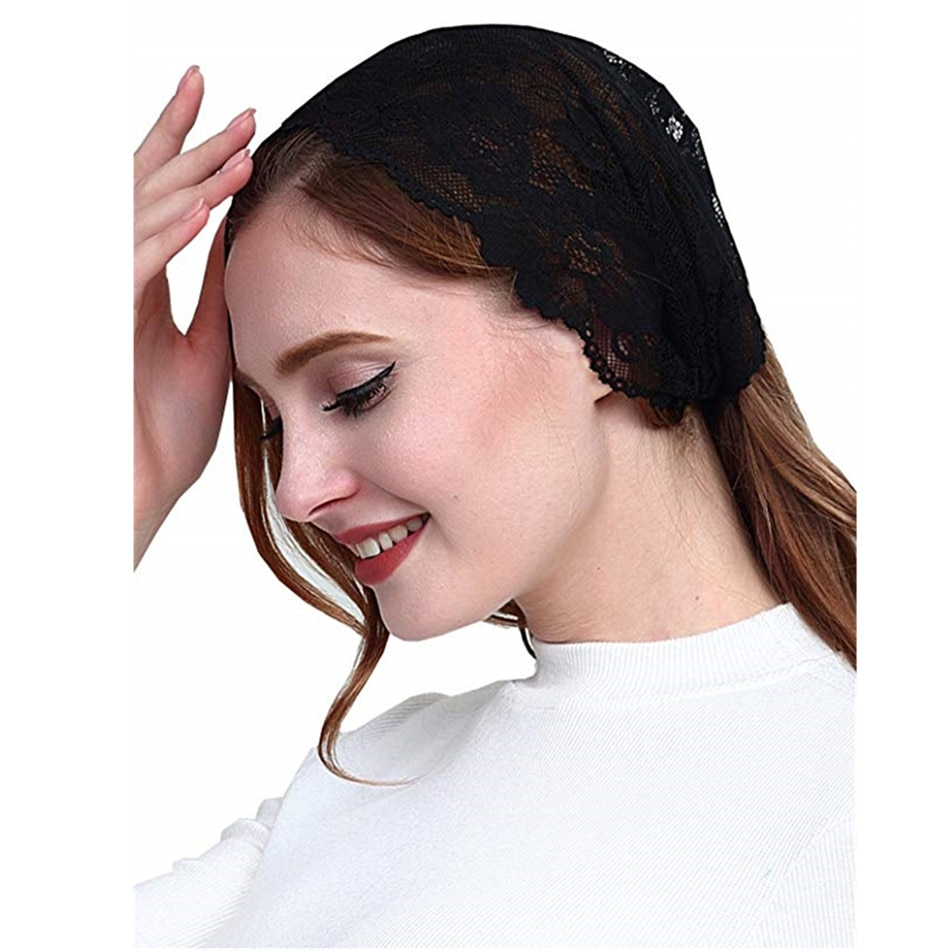 Головная повязка на голову с вуалью Мантилья, повязка на голову в стиле «Косынка», покрывающая голову, для церкви, Veil, catotic Chapel, Voiles, Dentelle Velas, negra, Мантилья
