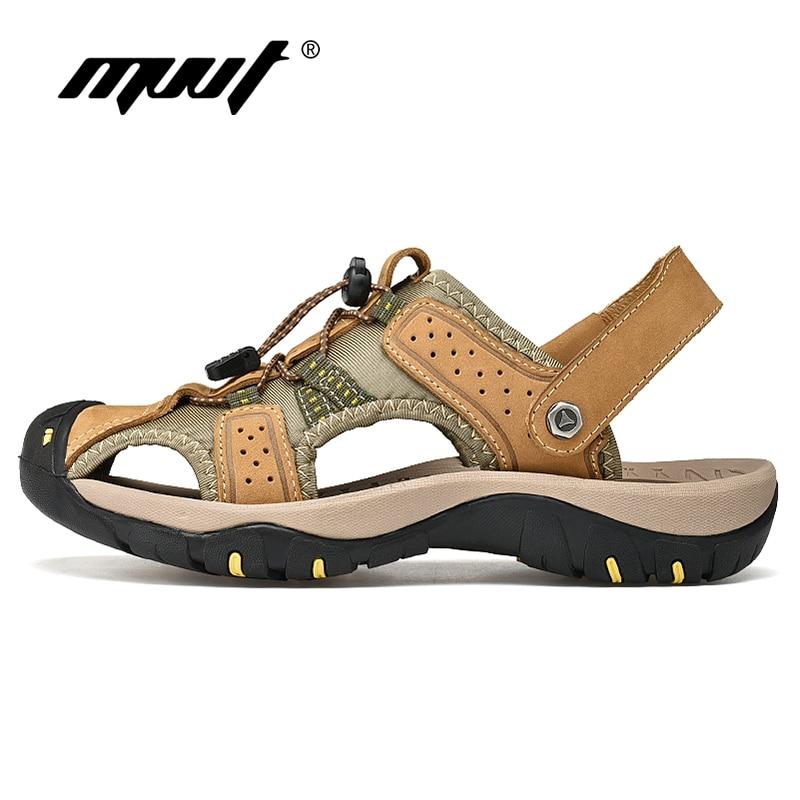 summer men sandals breathable beach shoes hook Classic Genuine Leather Sandals Men Summer Shoes Lightweight Comfort Men Beach Sandals Hook Loop Leather Men Shoes Plus Size