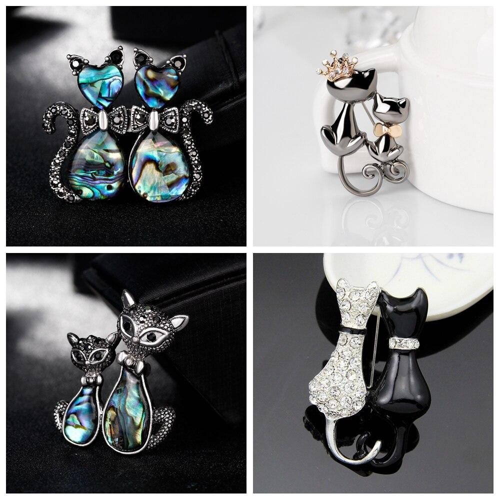 Broche de gato doble amante o hermana para regalo de fiesta concha de Metal corona diamantes de imitación esmalte Pin Animal negro broche para joyería de mujer