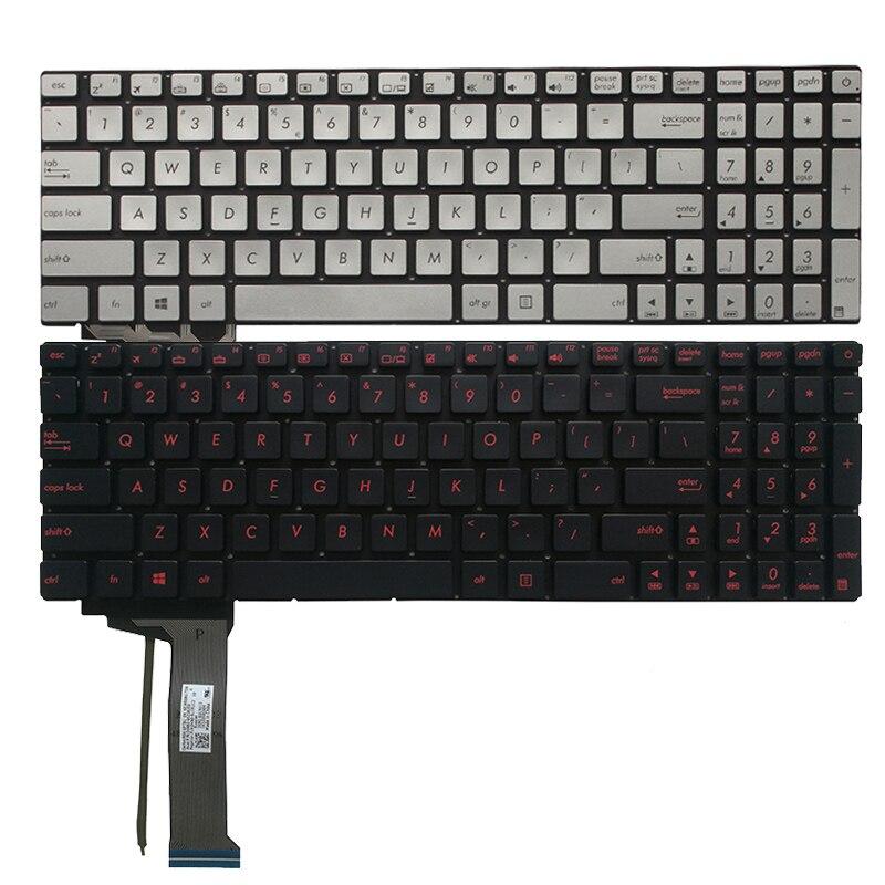 جديد الولايات المتحدة لوحة المفاتيح لابتوب ASUS G552 G552V G552VW G552VX FZ50JX GL752VW GL742VW الفضة/الأحمر الخلفية الإنجليزية لوحة المفاتيح