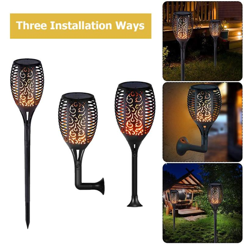 96LED Solar Llama luz al aire libre impermeable jardín patio césped antorcha lámpara para jardín Patio